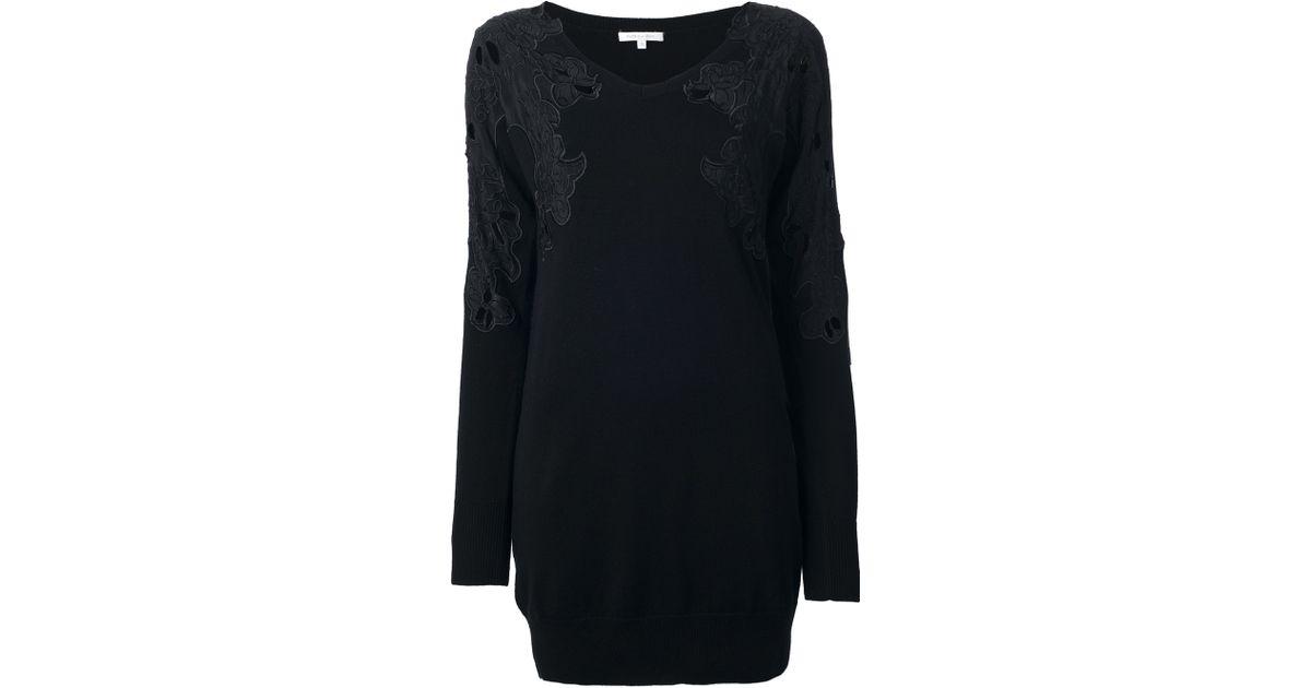 Lyst Patrizia Pepe Lace Detail Sweater Dress In Black