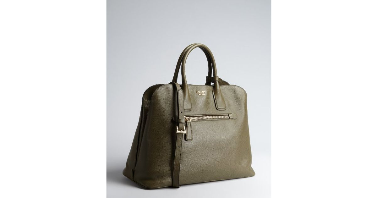 6f89f5ba38a0 ... coupon code for lyst prada grey saffiano leather zip top handle bag in  brown f555f 65c36