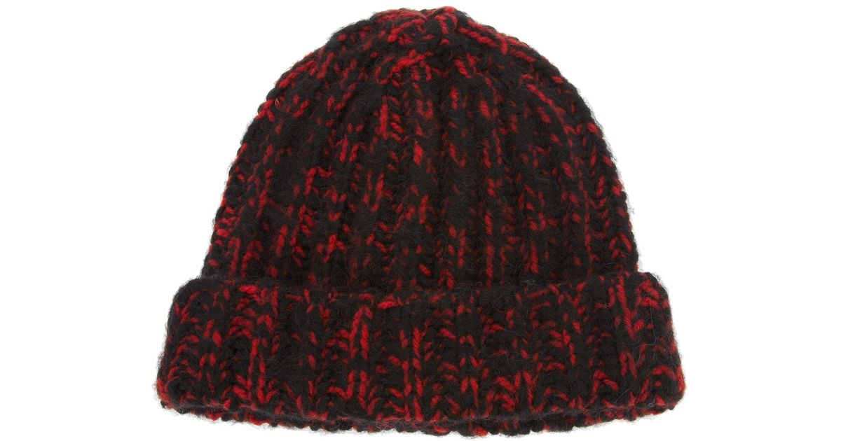 Lyst - Saint Laurent Knit Beanie Hat in Red for Men ed9e897093a
