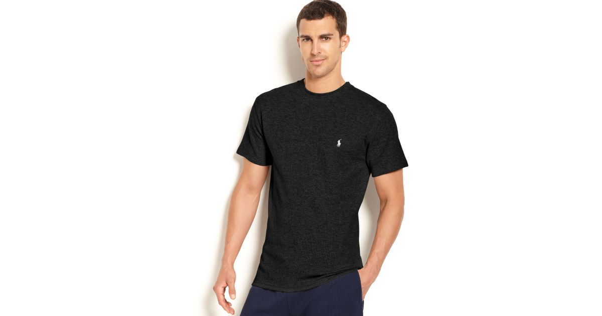 Polo ralph lauren Waffle-knit Thermal Crew-neck T-shirt in Black for Men | Lyst