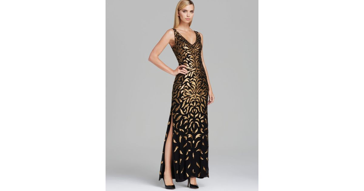 Lyst - Aidan Mattox V Neck Floral Sequin Gown Sleeveless in Black