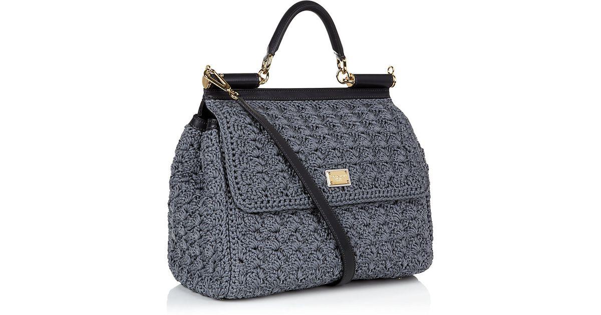 05511fd18ad6 Dolce   Gabbana Miss Sicily Classic Crochet Bag in Gray - Lyst