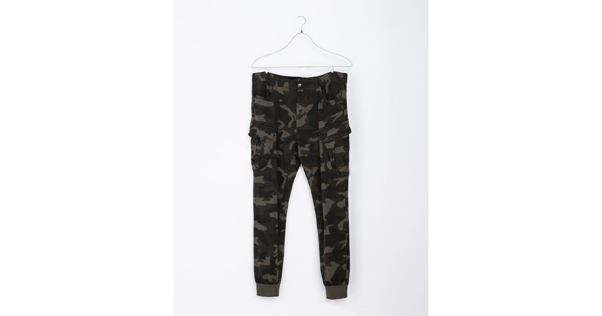 Elegant Zara Camouflage Skinny Trousers In Natural  Lyst