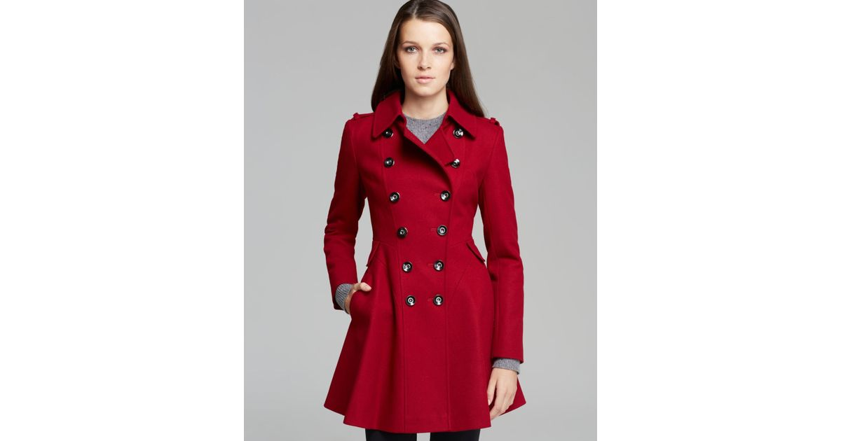 Well known Lyst - Via Spiga Coat - Double-breasted Wool in Red DZ79