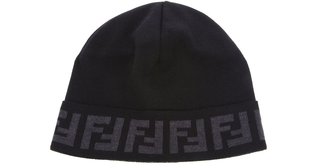 Lyst - Fendi Monogram Beanie in Black for Men a5cc7933701