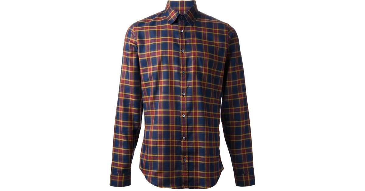 165fb2fd3 Lyst - Gucci Checked Cotton-flannel Shirt in Blue for Men