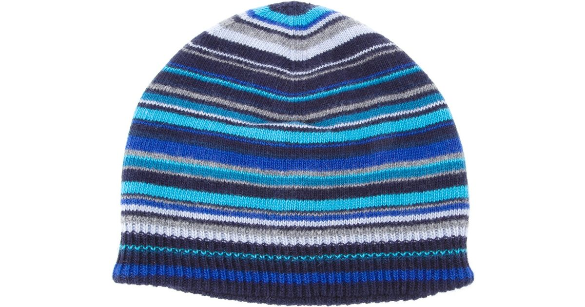 Lyst - Paul Smith Striped Beanie Hat in Blue for Men d0273cd4dbe