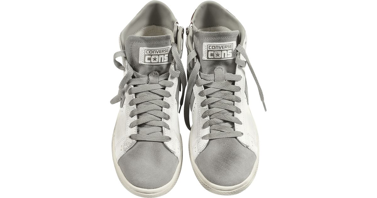 4ca980c5589e3d Lyst - Converse Pro Leather Mid White Distressed Sneaker in White for Men