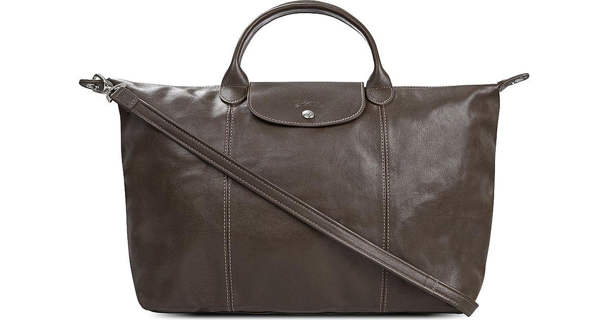 e15c70eb34a5 Longchamp Le Pliage Cuir Medium Leather Handbag in Gray - Lyst