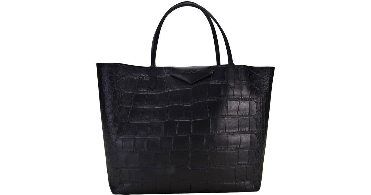 f0e23a8d7954 Lyst - Givenchy Antigona Stamped Crocodile Bag in Black