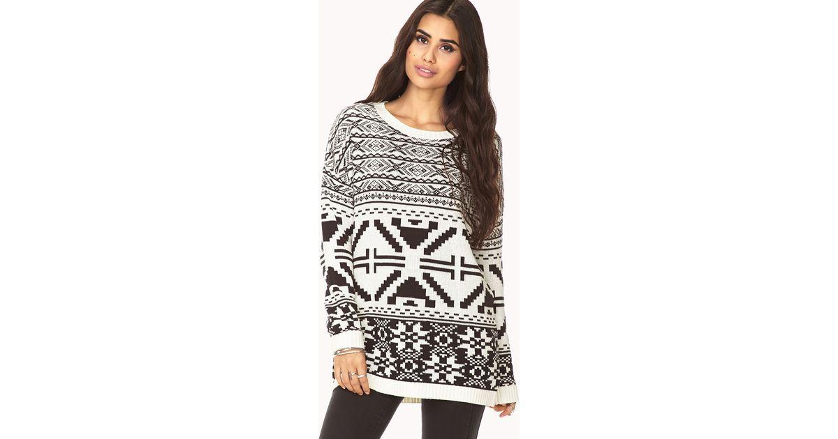 Forever 21 Oversized Fair Isle Sweater in White | Lyst