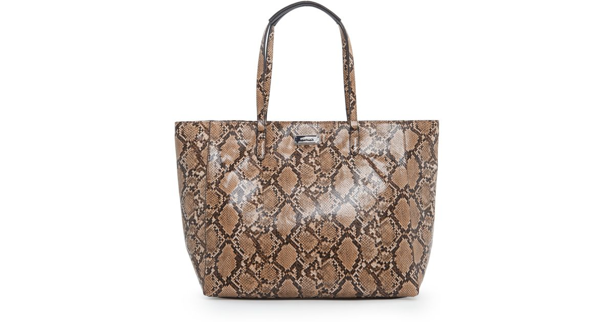 a933970cde4 Mango Faux Snake-Skin Shopper Bag in Brown - Lyst