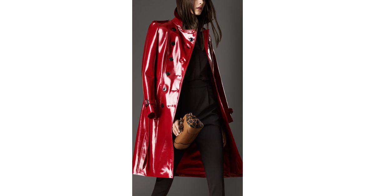 7dd4104dc98 Lyst - Burberry Long Patent Finish Trench Coat in Red