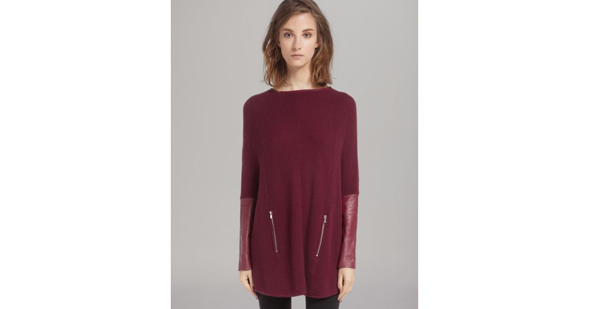Lyst Maje Sweater Poncho With Leather Sleeves In Purple