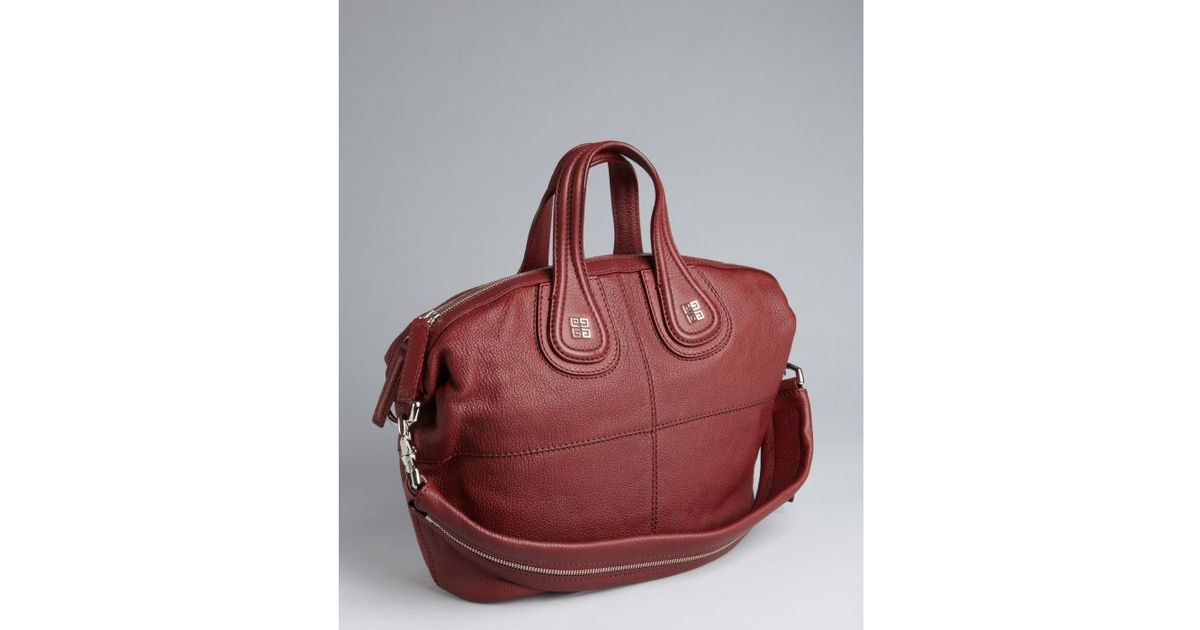 7a660284fa5 ... Lyst - Givenchy Burgundy Leather Zippered Strap Nightingale Medium  Convertible Tote in Red premium selection df0dc ...