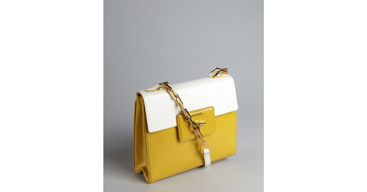 732da1f9f0cf44 ... top quality lyst prada golden rod and white crosshatched leather chain  strap turn lock shoulder bag