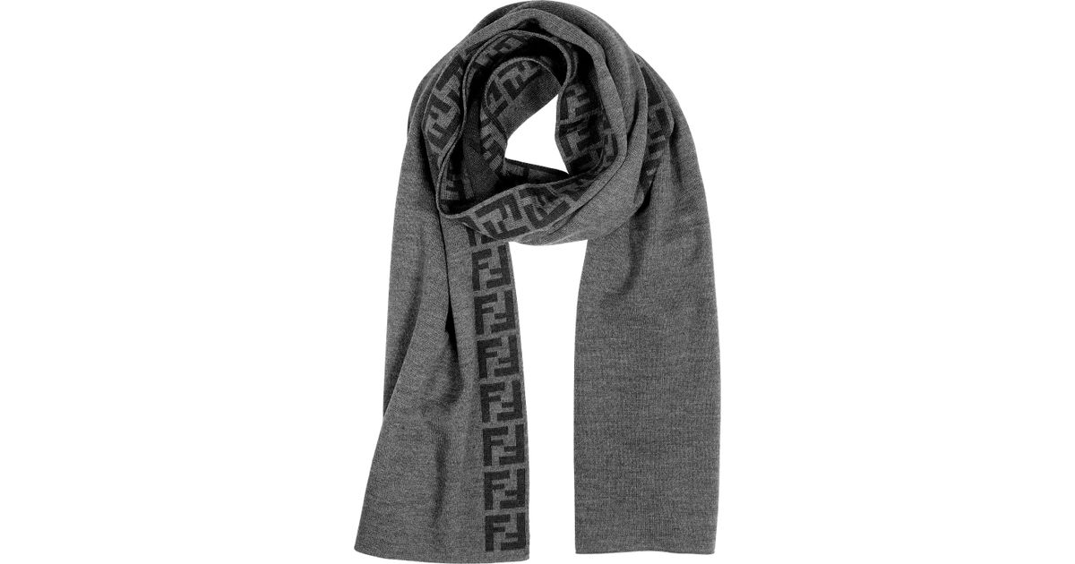 f71bf4dd9842 Lyst - Fendi Zucca Logo Wool Long Scarf in Gray for Men