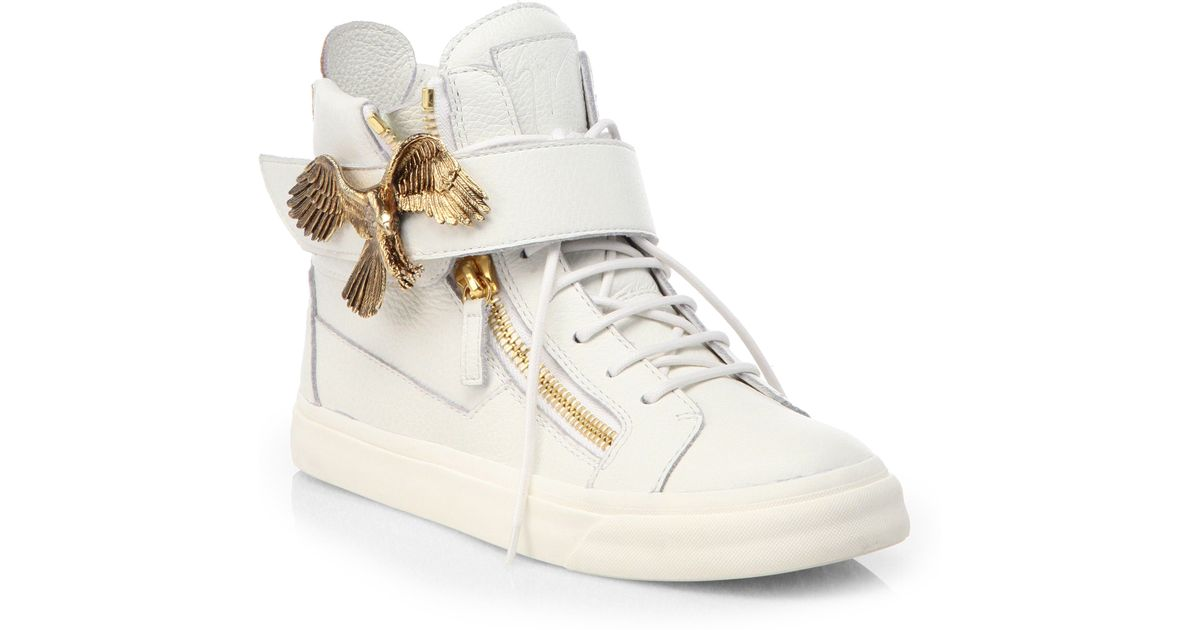 93907b2cb89b7 Lyst - Giuseppe Zanotti Eagle Leather High-Top Sneakers in White