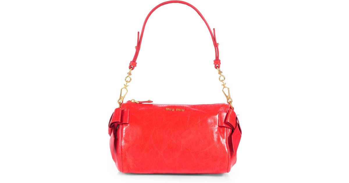 Lyst - Miu Miu Vitello Small Bow Shoulder Bag in Red dea7abce3cb4f