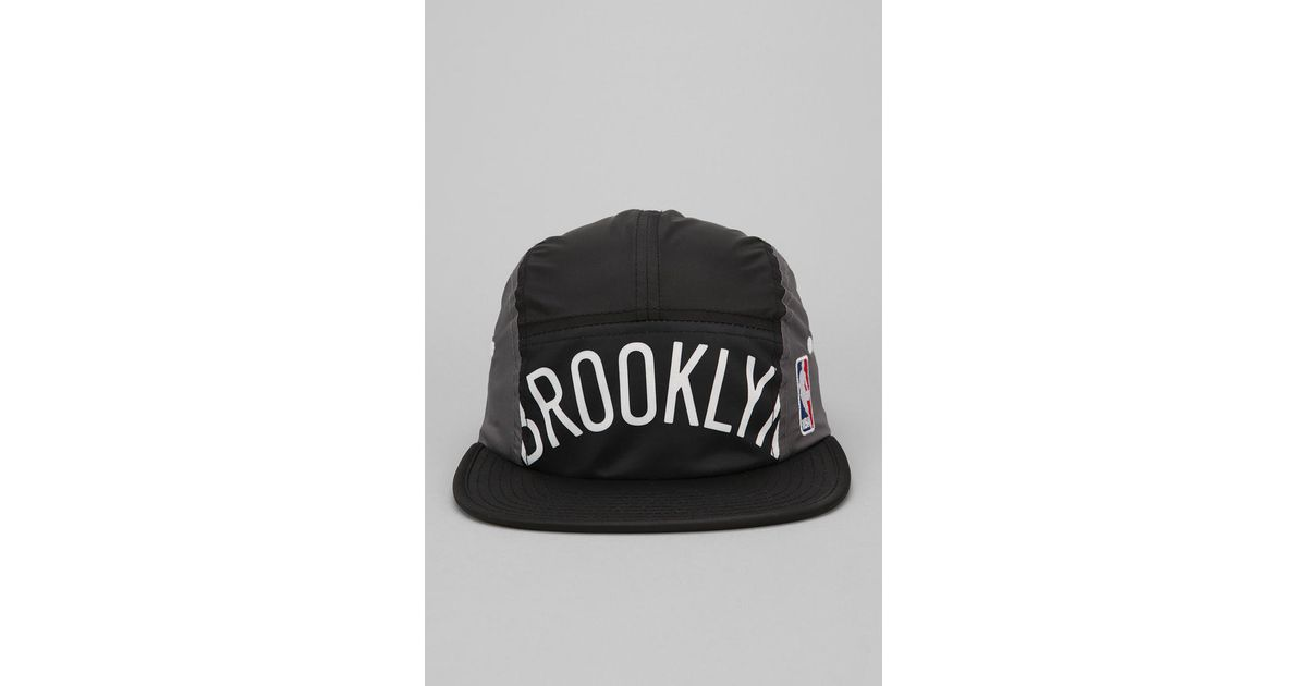 c744167f9fa Lyst - Urban Outfitters Mitchell Ness Brooklyn Nets Worldmark 5panel Hat in  Black for Men