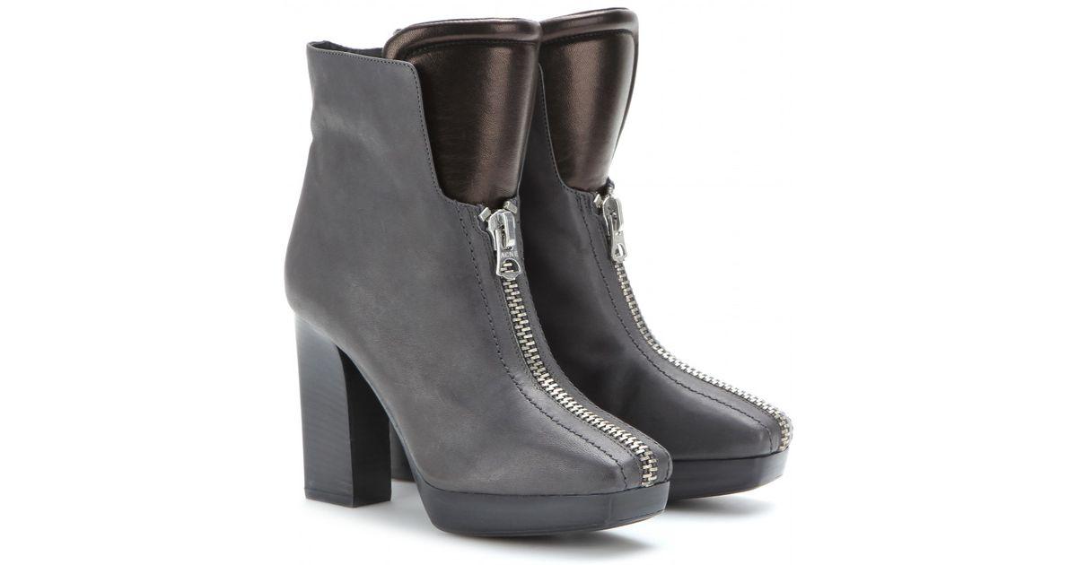 Lyst Studios Acne Studios Lyst Vita Leather Ankle Botas in Gris 6e8fba