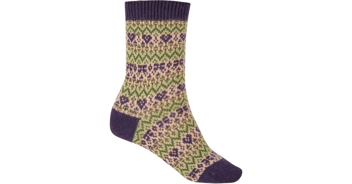 Pantherella Navy Fair Isle Cashmere Ankle Socks in Blue for Men | Lyst