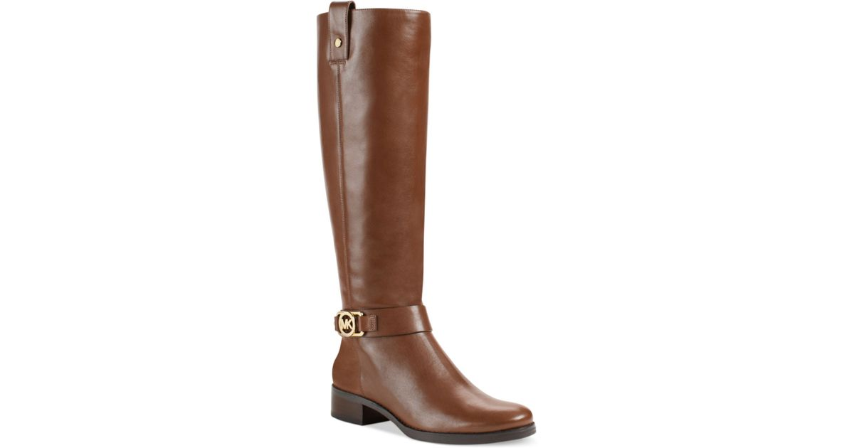 03f94248f Michael Kors Charm Wide Calf Riding Boots in Brown - Lyst