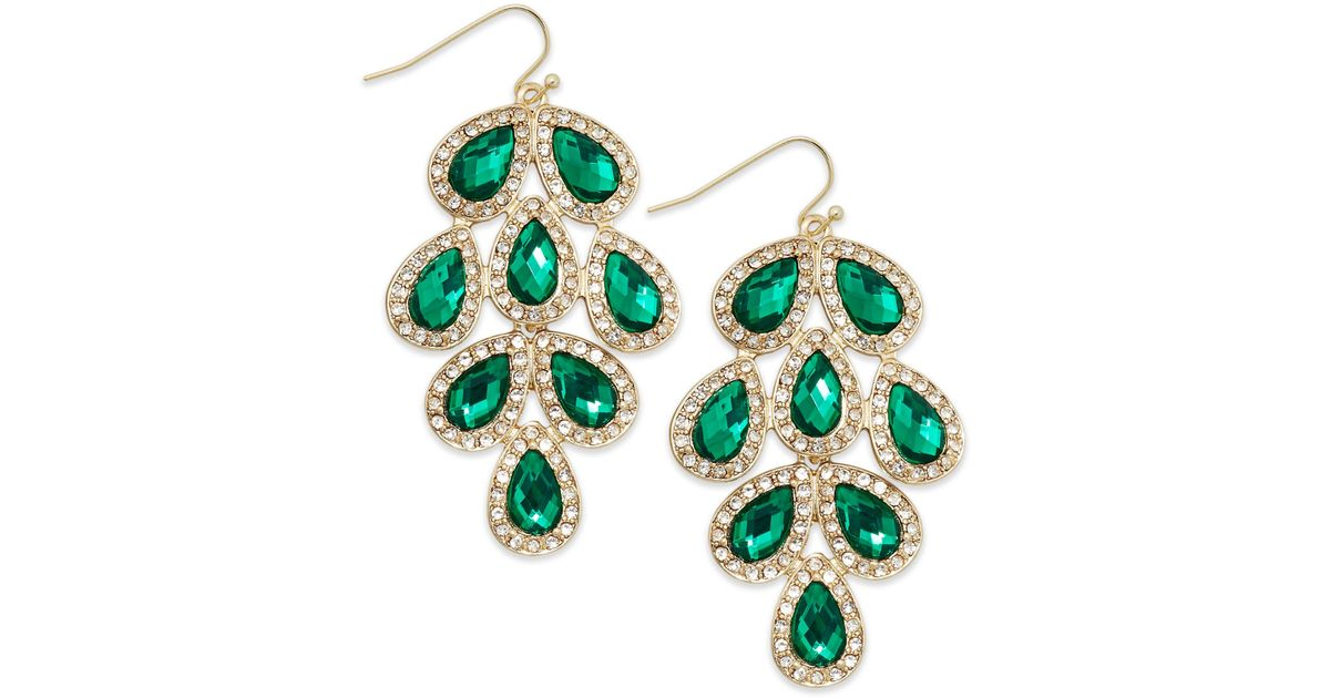 Lyst Inc International Concepts Goldtone Green Stone Leaf Chandelier Earrings In