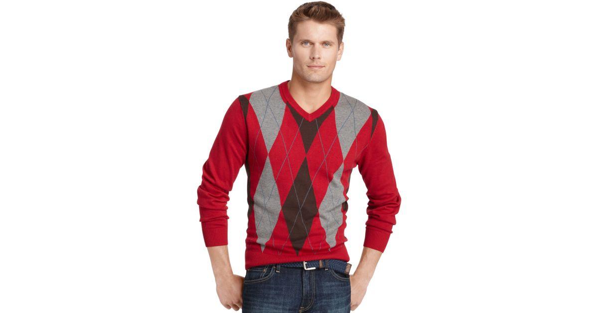 Izod Sweater V Neck Argyle Sweater for Men | Lyst