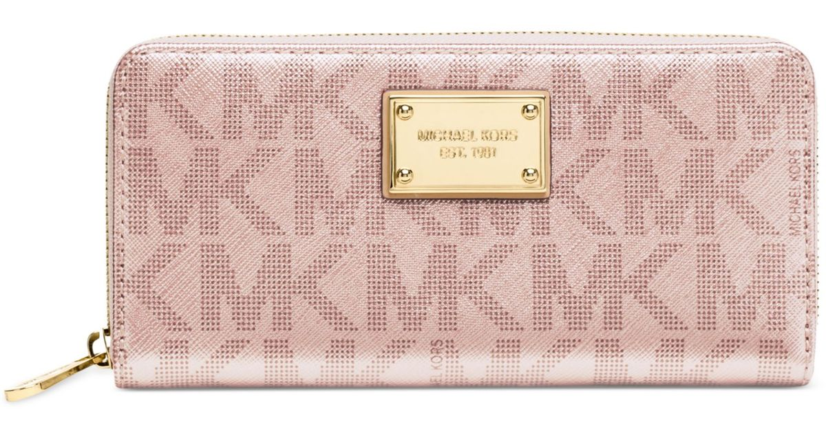 50f507a38c707 Lyst - Michael Kors Signature Metallic Zip Around Continental Wallet in Pink