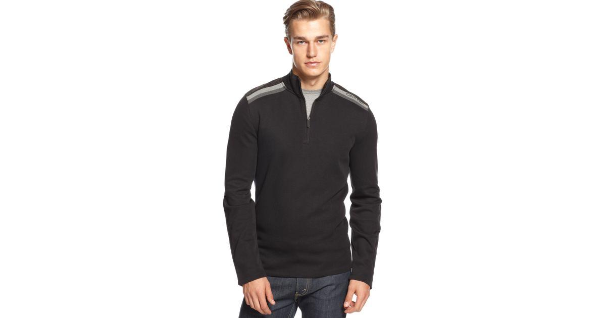 0bee183168 Lyst - Calvin Klein Mixed Media French Rib Quarter Zipper Sweater in Black  for Men
