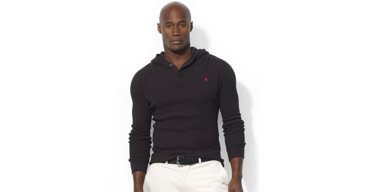 Ralph lauren Long Sleeve Waffleknit Cotton Hoodie in Black for Men | Lyst