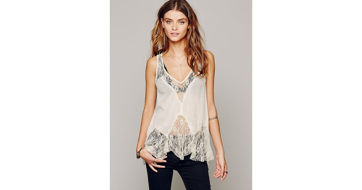 fbed25e5c03e Lyst - Free People Intimately Womens Bell Trapeze Cami in Natural