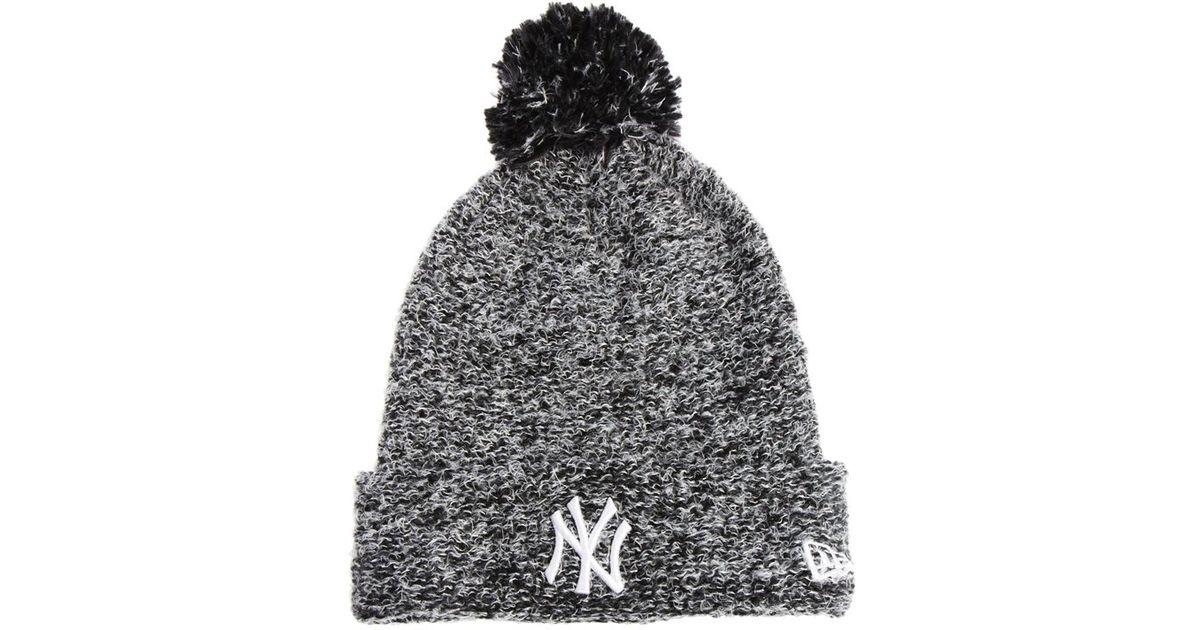 4f2193be9a4 Lyst - ASOS New Era Fleck Knit New York Yankees Bobble Beanie Hat in Black
