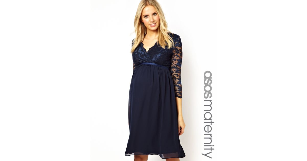4c003bd0c8db6 Insight Asos Maternity Exclusive Lace and Chiffon Midi Dress with Wrap  Front and Half Sleeve in Blue - Lyst