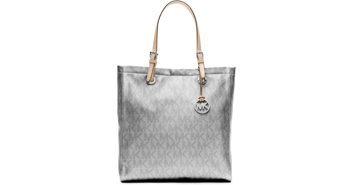 85213402caf89 Lyst - Michael Kors Signature Metallic North South Tote in Metallic