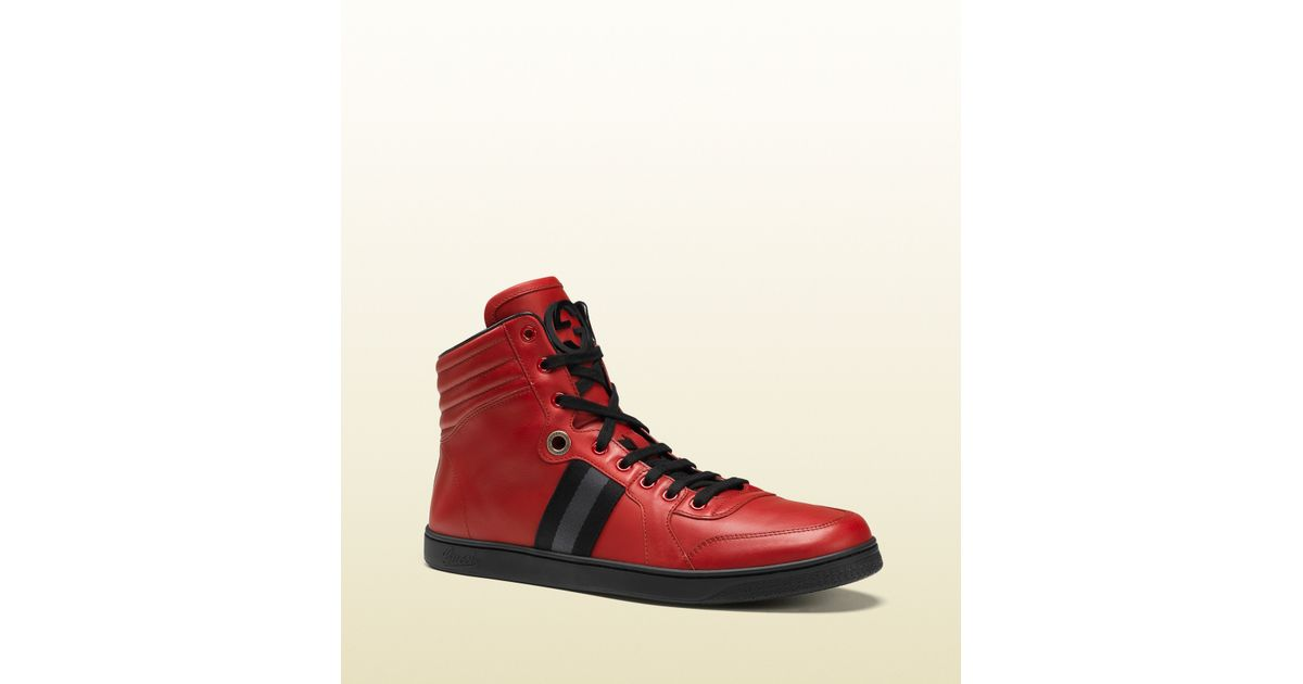 e42be5c733e Lyst Gucci Men S High Top Sneaker From Viaggio Collection In Red