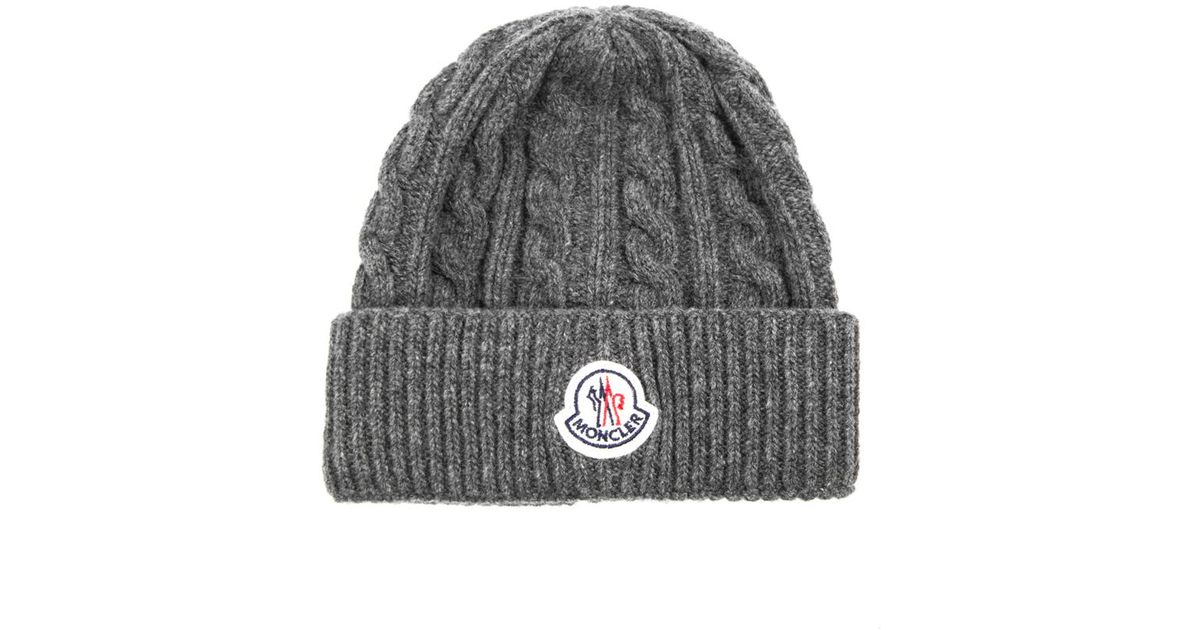 f6e35e84a31 Moncler Cable Knit Beanie in Gray for Men - Lyst