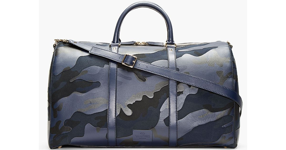 Lyst Valentino Navy Camo Print Leather Boston Duffle Bag In Blue For Men