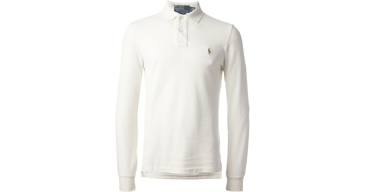 aa5ab8b0a91b6 Polo Ralph Lauren Long Sleeve Polo Shirt in White for Men - Lyst