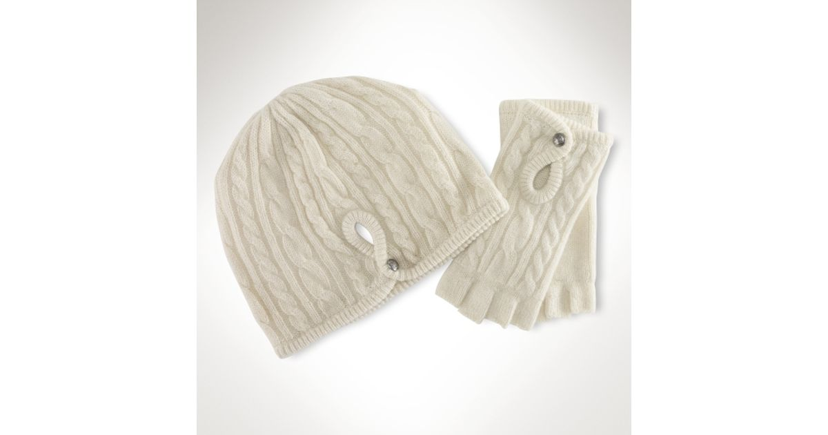 Lyst - Lauren by Ralph Lauren Cashmere Hat Glove Gift Set in Natural c43021d1868