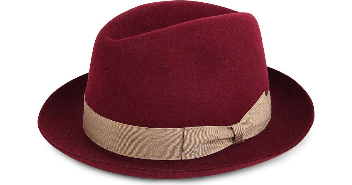 17782ca3a7ac69 Borsalino Felt Fedora Hat in Red for Men - Lyst