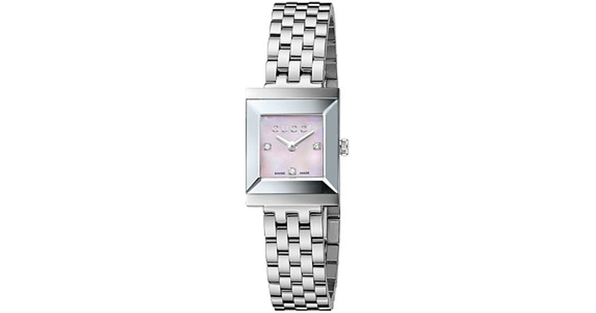 50ee4556da5 Lyst - Gucci G-frame 19mm Stainless Steel Watch With Diamonds-ya128401 in  Gray