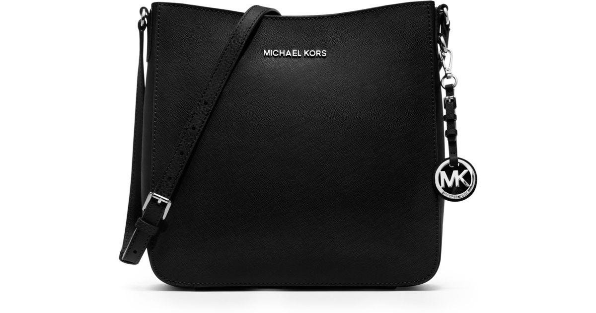e5ce4d02be1f Lyst - Michael Kors Jet Set Travel Large Saffiano Messenger Bag in Black