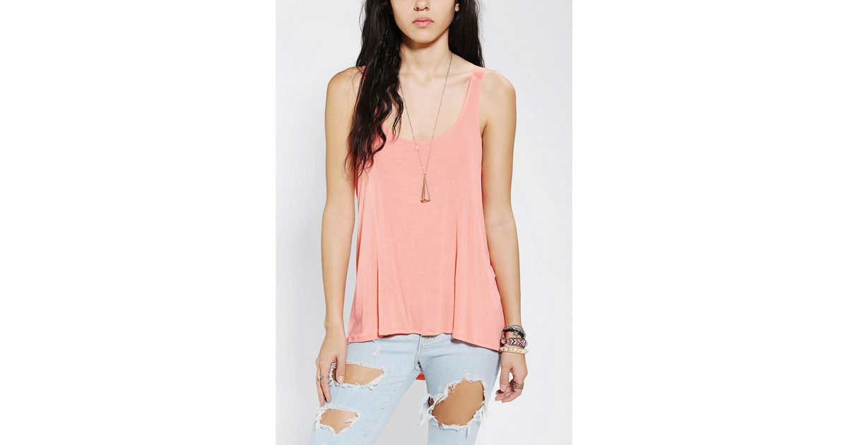 1eb1273709 Lyst - Urban Outfitters Silence Noise Deep Scoop Back Tank Top in Orange
