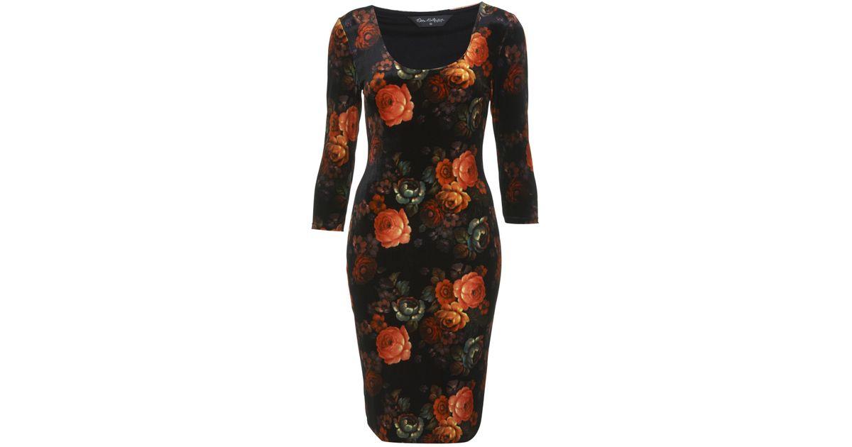 d6432cc71a69 Miss Selfridge Floral Velvet Bodycon Dress in Black - Lyst