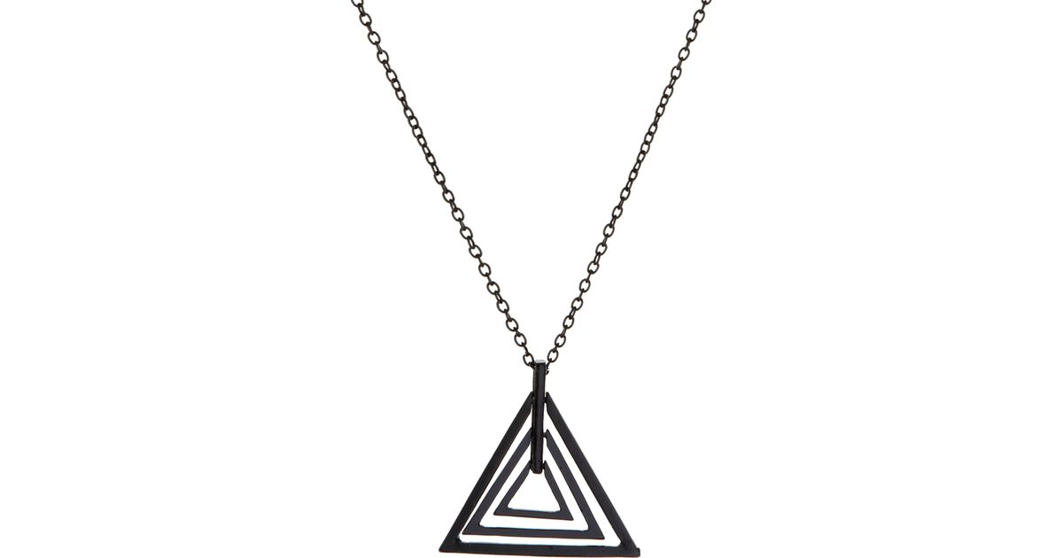 silver geometric necklace hugerect small triangle jewelry product sterling pendant