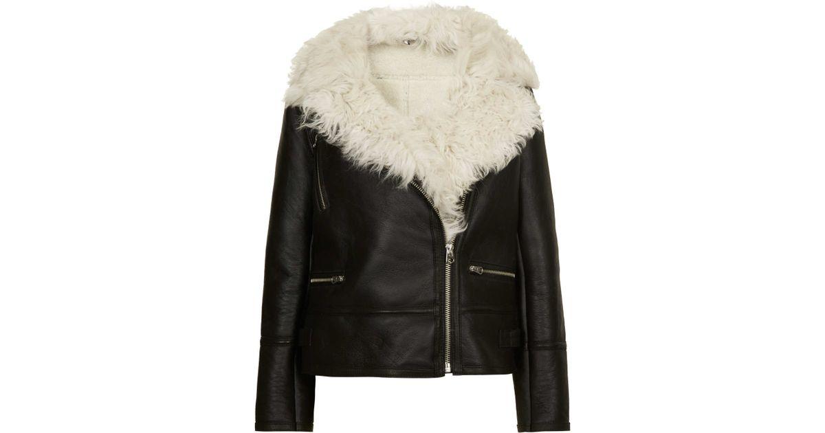 Topshop Curly Sheepskin Biker Jacket in Black | Lyst