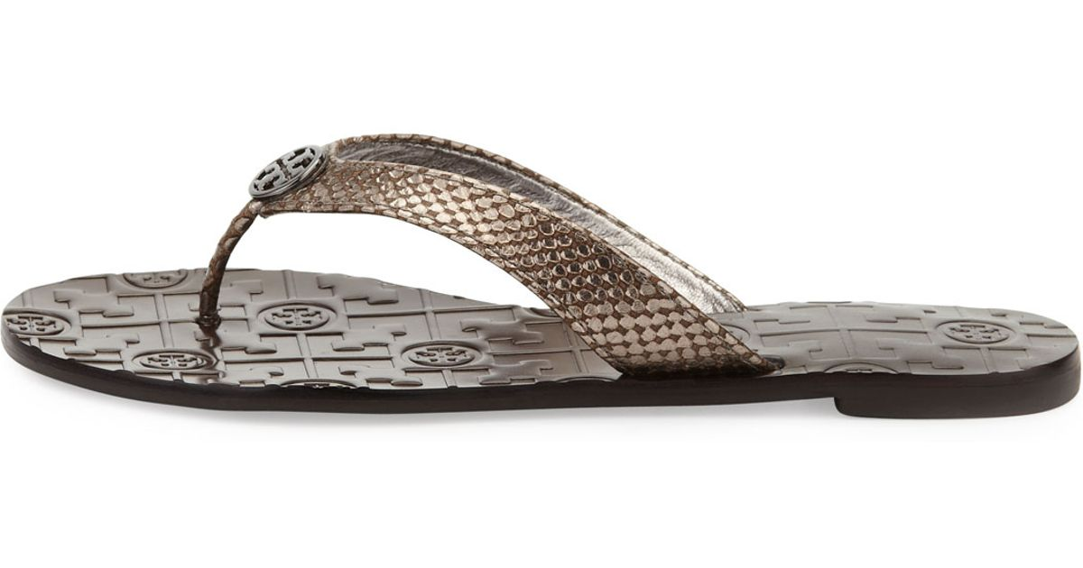 26a8b0f6b8922 Lyst - Tory Burch Thora Leather Sandals in Gray