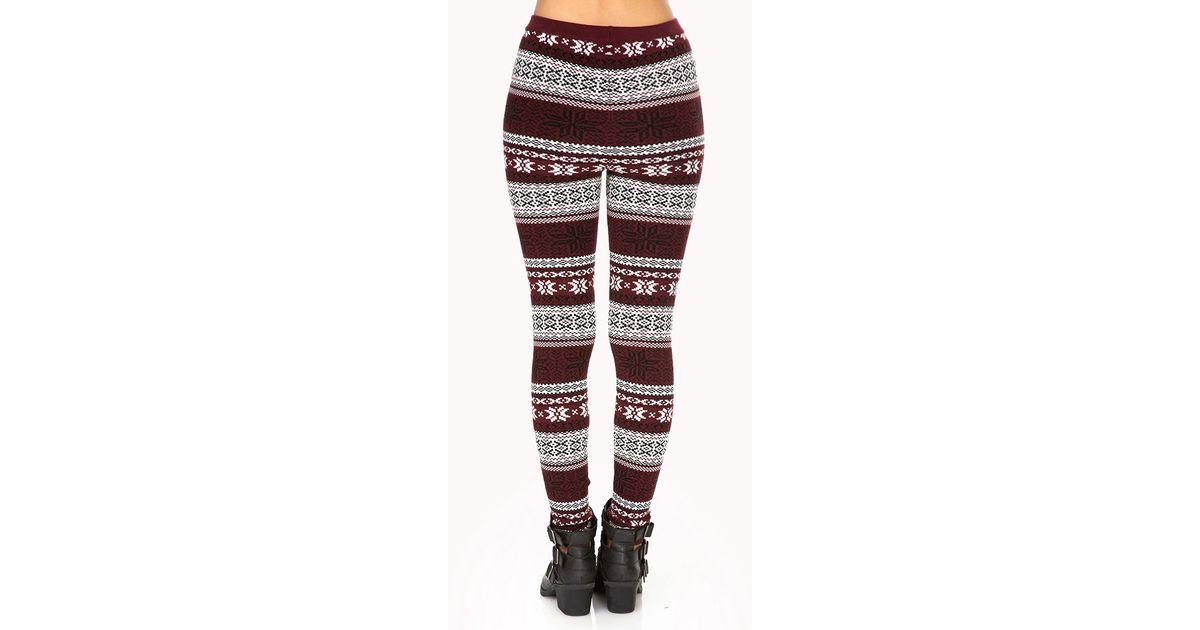 Forever 21 Festive Fair Isle Sweater Leggings in Red | Lyst